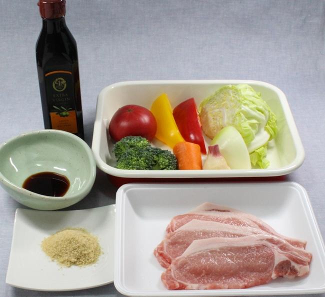 ビタミンACEたっぷりの豚生姜焼きの材料です
