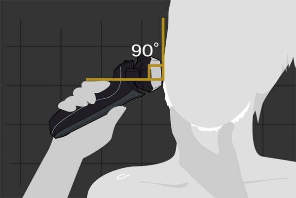 電気シェーバーは肌に優しく90度で当てる