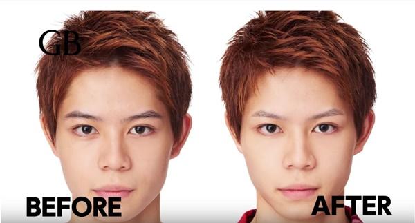 ギャッツビーの動画より眉毛のお手入れの前後を比較しています